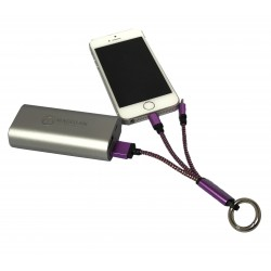 Branded 2 in 1 Braided USB Charging Cable with Clip