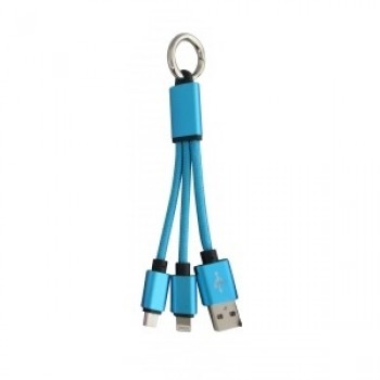 Promotional 2 In 1 Braided USB Charging Cable In Blue