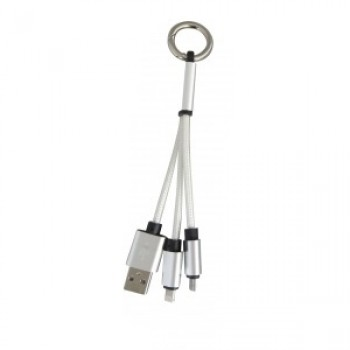 Promotional 2 In 1 Braided USB Charging Cable In Light Grey