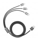 Branded 3 in 1 Braided USB Charging Cable in Black