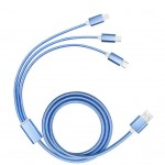 Branded 3 in 1 Braided USB Charging Cable in Blue