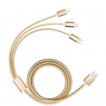 Promotional 3 in 1 Braided USB Charging Cable in Gold