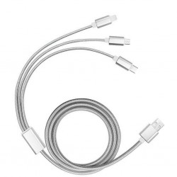 Printed 3 in 1 Braided USB Charging Cable in Grey