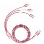 Promotional 3 in 1 Braided USB Charging Cable in Pink