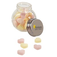 Promotional Small Glass Jar of Hearts