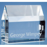 Branded Glass House Paperweight