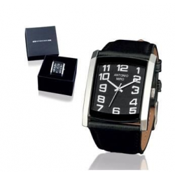 Branded Dionel Rectangular Analogue Watch with Leather Strap