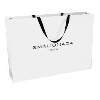 Printed Matt Laminate Paper Bags With Ribbon Handles