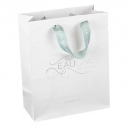 Bespoke Luxury Ribbon Handle Matt Bag for Eau Spa