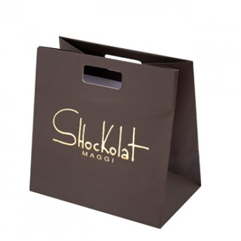 Printed Matt Laminate Paper Bags With Die Cut Handles