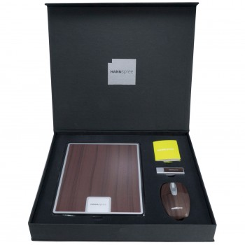 Hanspree custom presentation box with mouse mat, USB and computer mouse.