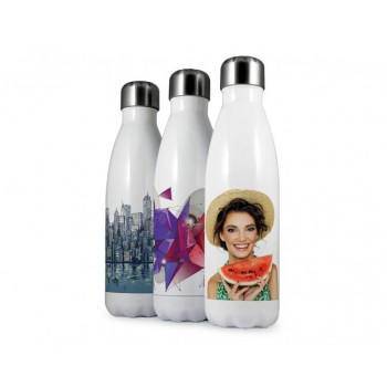 Three white bottles with coloured pictures printed on them