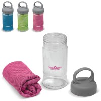 Promotional Cooling Towel With Water Bottle