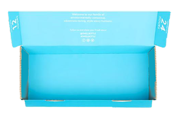 Electric blue bottle box packaging